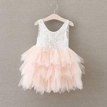 Retro Lace Girl Dress Pearl Flower Bow Baby Girls Dresses 3 Layered Mesh Flutty Kids Children Clothes vestido infantil 1-6T
