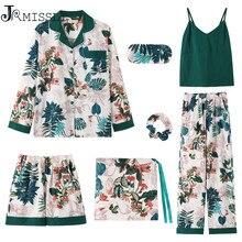 JRMISSLI Sleepwear Female Green Cotton Flower Print Sexy Women Pajamas Sleep