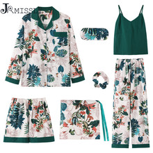 JRMISSLI Sleepwear Female Green Cotton Flower Print Sexy Women Pajamas