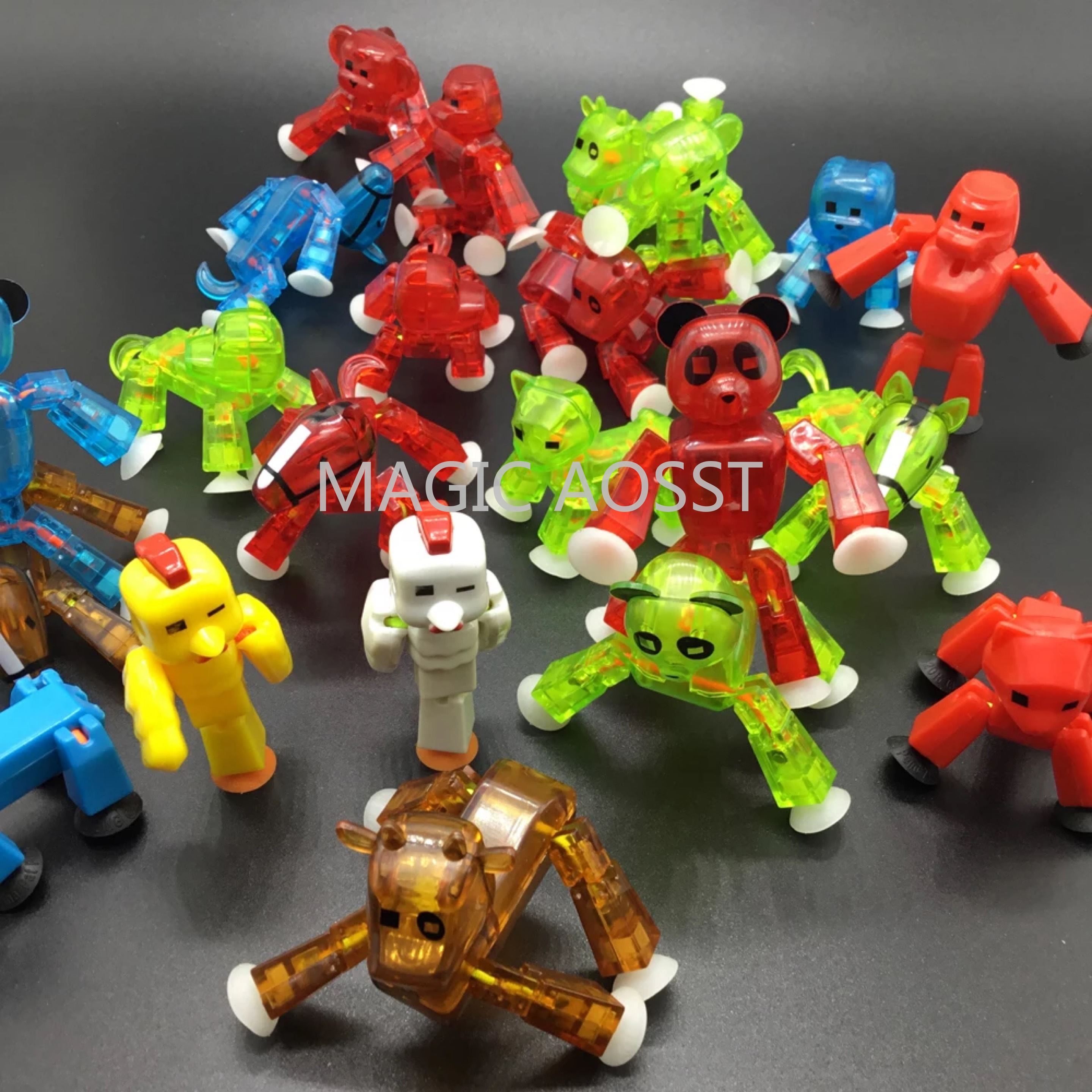 Image 5 - 20pcs/lot Colors Randomly Sending Cute Sticky Animal Robot Sucker Suction Cup Funny Deformable Stick Bot Action Figure Toys-in Action & Toy Figures from Toys & Hobbies