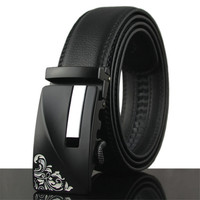 LannyQveen Brand Belt 100 Genuine Leather Fashion Men S Automatic Buckle Black Belts Cow Belt For