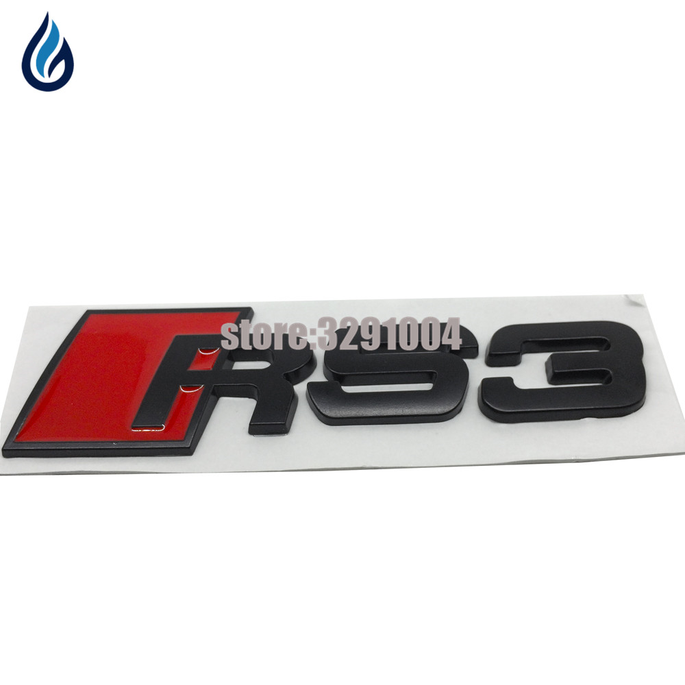 Metal Car Emblem Badge Black Sticker For Audi RS3 RS4 RS5 RS6 RS8 A4 B5 A6 C6 A4 B7 A3 A4L A4 A5 A6L A7 A8L Q3 Q5 Q7 TT S3 S4 интеркулер audi a3 a4 a5 a6 a6l a4l q3 q5 1 8t 2 0t