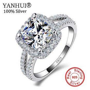 885cc379755a Joyería fina 100% real 925 anillo de plata esterlina 3 CZ Diamant  compromiso Anillos para las mujeres JZR066