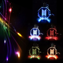 KPOP BTS New LOGO DOOR Keychain Model Toy Bangtan Boys LED Crystal Light Pendant Keyring Collection