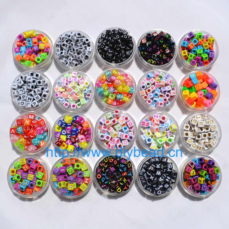 100 pièces mode 18 Styles forme carrée 7mm mélangé coloré acrylique lettre perles pour bricolage métier à tisser bandes bijoux montage Bracelet fabrication