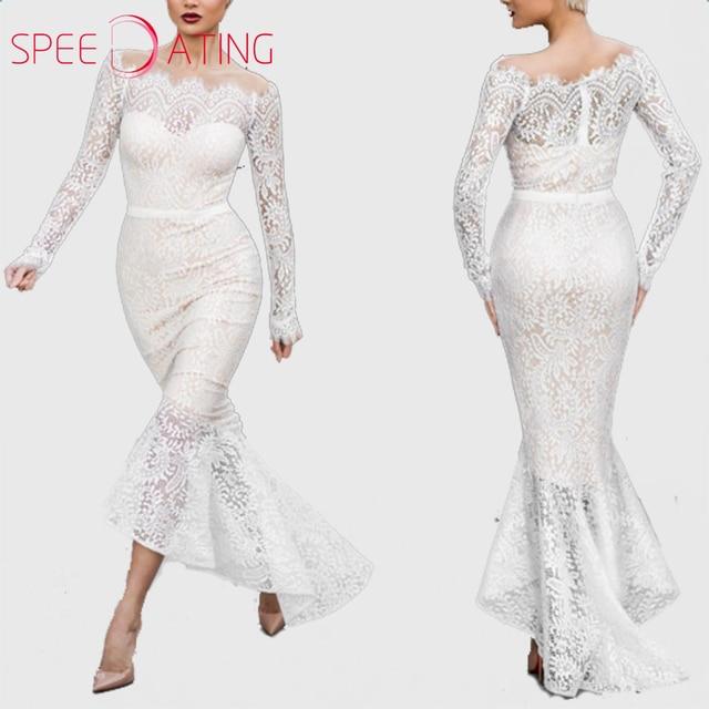 d0aab4f8678 Vintage White Lace Bodycon Dress Long Sleeve Open Shoulder Asymmetric Hem  Petal Sleeve Mermaid Dresses Slash Neck SPEEDATING