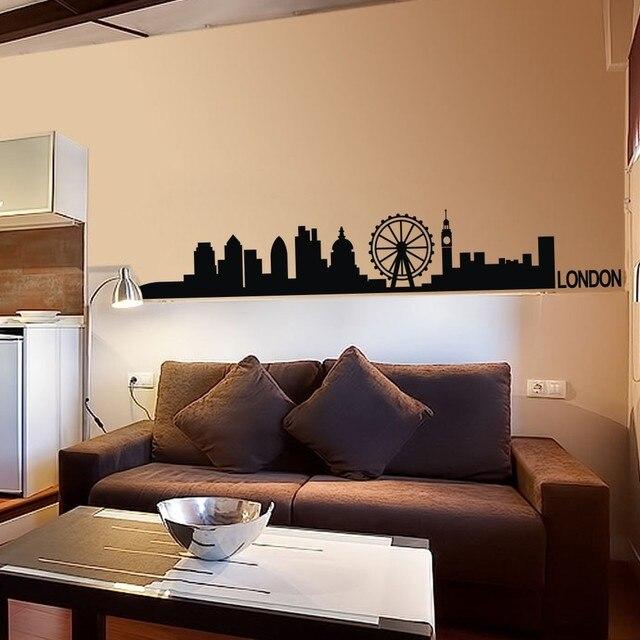 London Skyline Wall Decal Decor Livingroom Vinyl Wall Sticker Arts Europe  City Wall Decals England Home