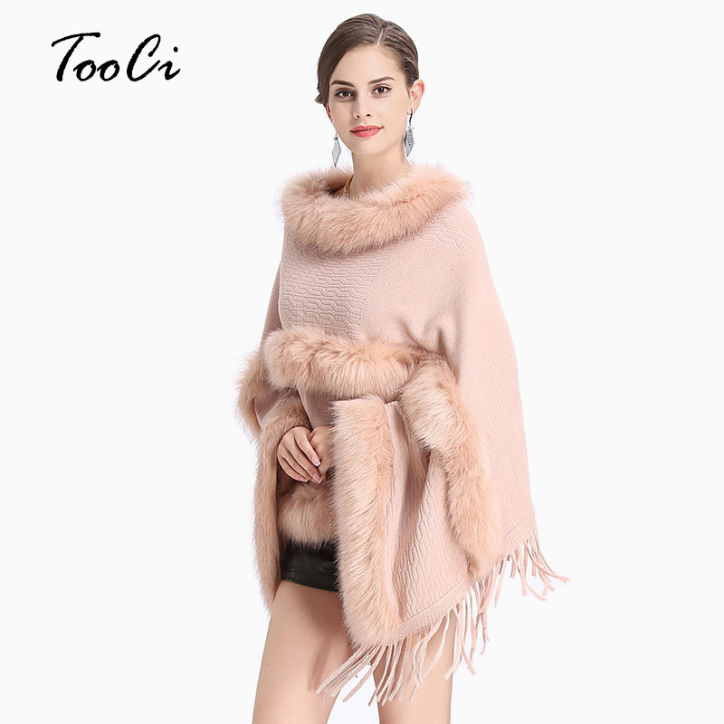 Women Autumn Winter Faux Fur Bat Sleeve Ponchos And Capes Pink Round-Neck Knit Sweater And Pullovers Faux Fur Coat Wedding
