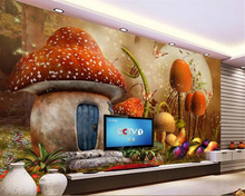 beibehang Custom wallpaper mural cartoon children theme background wall Mushroom Cottage painting 3d