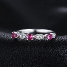 JewelryPalace 3 Stone Round 0.45ct Created Ruby Engagement Wedding Rings For Women