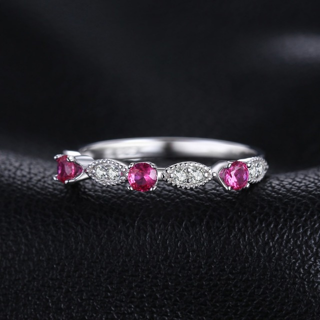 3 Stone Round Ruby Ring