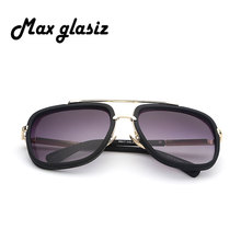 Sunglasses Men Women Gold Frame Square Shaped Retro Eyewear
