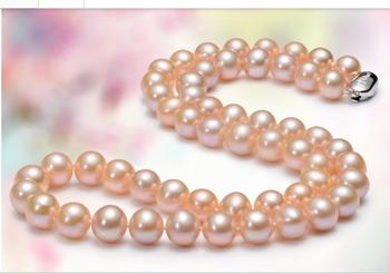 noble women gift Jewelry Silver Clasp Fine PINK natural Fine 11-11.5mm natural pearl Fashion freshwater pearl necklaces AAAA+