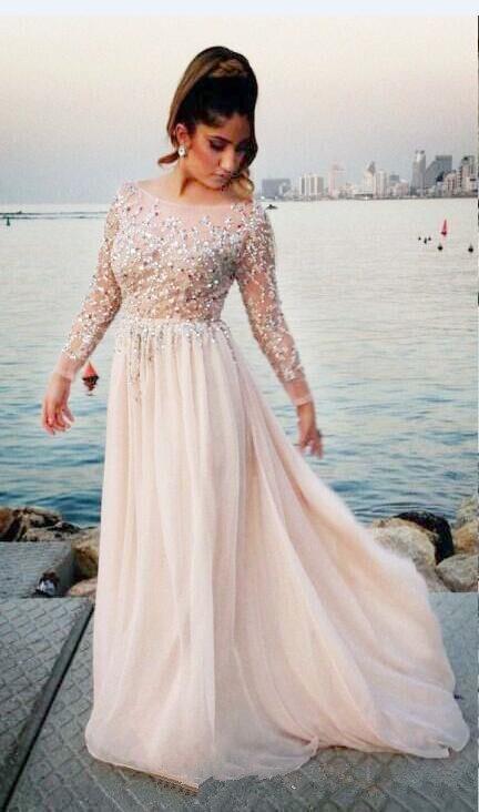 Arabic Blush Pink Long Sleeve Evening Dresses 2019 robe de soiree Applique Lace Prom Dress A Line Formal Women Party Gowns