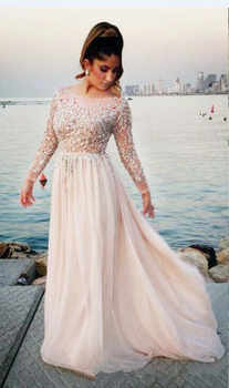 Arabic Blush Pink Long Sleeve Evening Dresses 2019 robe de soiree Applique Lace Prom Dress A Line Formal Women Party Gowns