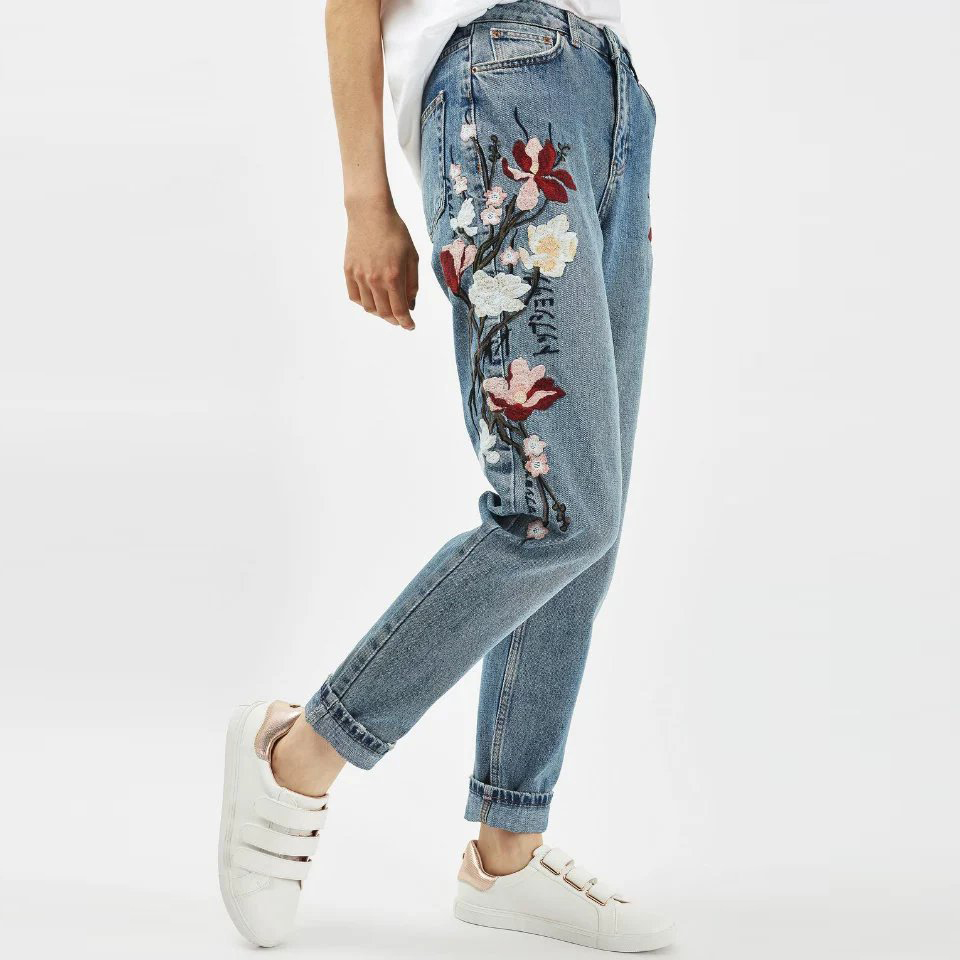 TIC TEC Plus Size Flower Embroidery Jeans Female High Waist Jeans Pants 2017 Spring Summer Women