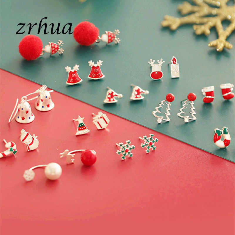 ZRHUA Cute 925 Sterling Silver Stud Earrings for Women Girls sterling-silver-jewelry oorbellen aros de plate 925 Christmas Gifts