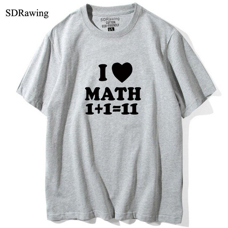 Funny MATH I Love Math letter print T shirts womens Shirt Gift Funny tops Geek Math Cool tees Math Teacher drop ship 5