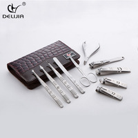 DeLiJia 10pcs Stainless Steel Universal Home Office Manicure Set Nail Clippers Cleaner Grooming Kit Nail Care Nail Art Tool Sets