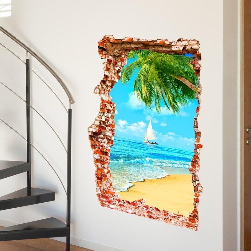 Finest Shijuehezi Sand Strand Palme Gebrochen Ziegel Landschaft D Vinyl Diy  Wandkunst Fr Wohnzimmer Dekoration With Wohnzimmer Landschaft