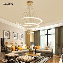 Circular chandelier modern white acrylic chandeliers 110V 220V Decorative lights for living room GUXEN