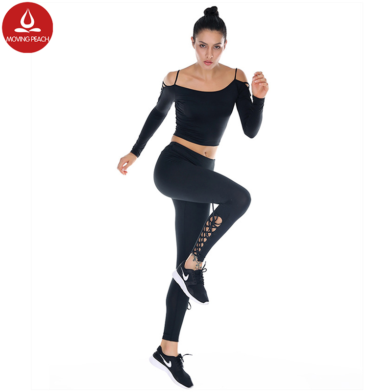 Side Cross Lace Fitness Leggings Women Breathable High Waist Sport Athletic Leggings Summer Stretchy Yoga Pants Activewear tops