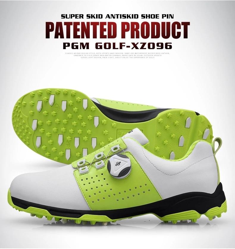 Água PU Anti-Derrapagem Rotação Cadarço Sapatos De Golfe Homens