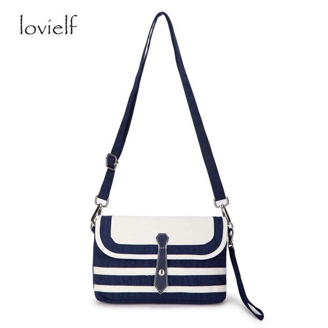Lovielf Fashion Casual Women Marine Navy Blue Striped Shoulder Bag High Quality C And