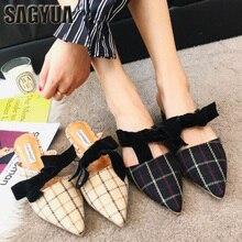 SAGYUA Brand 2018 Spring Slim Стильный Bowknot Направленный Toe Woman Тапочки Slip на бабочках Loafers Chunky Mules Flip Flops T432