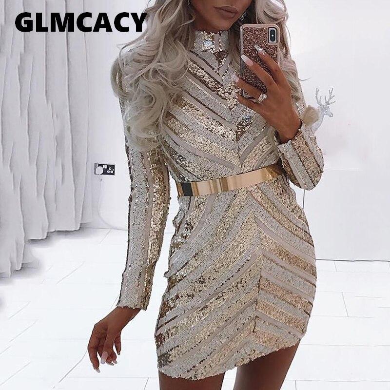 Femmes Chevron rayures moulante Mini robe de soirée à paillettes à manches longues Mini robe à paillettes automne hiver Vestidos Clubwear robe Sexy