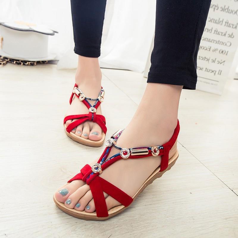 Women Shoes Fashion Slip-On Beach Women Sandals Summer Bohemian Peep Toe Flat Sandals Women Plus Size Comfort Ladies Shoes  - buy with discount