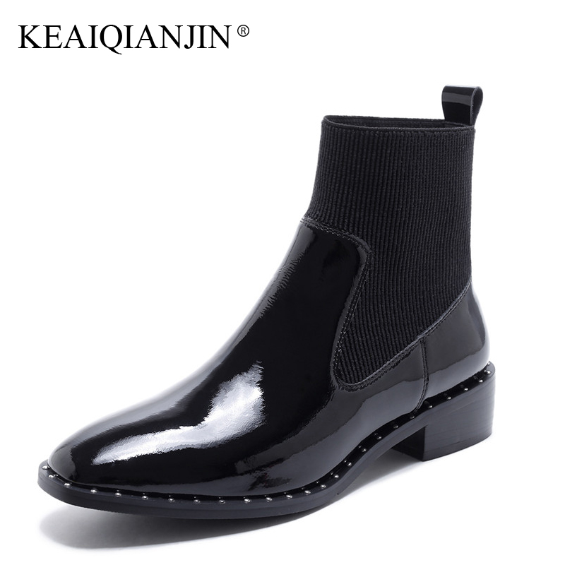 KEAIQIANJIN Woman Genuine Leather Martens Boots Black Autumn Winter Square Toe Shoes Fashion Rivet Patent Leather Ankle Boots keaiqianjin woman pointed toe ankle boots black autumn winter genuine leather shoes fashion metal decoration chelsea boots 2017