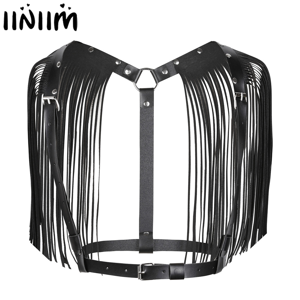 Women PU Leather LED Tron Dance Wear Dancing Tops Adjustable Body Chest Harness Bondage Belt With Shoulder Tassel Night Clubwear