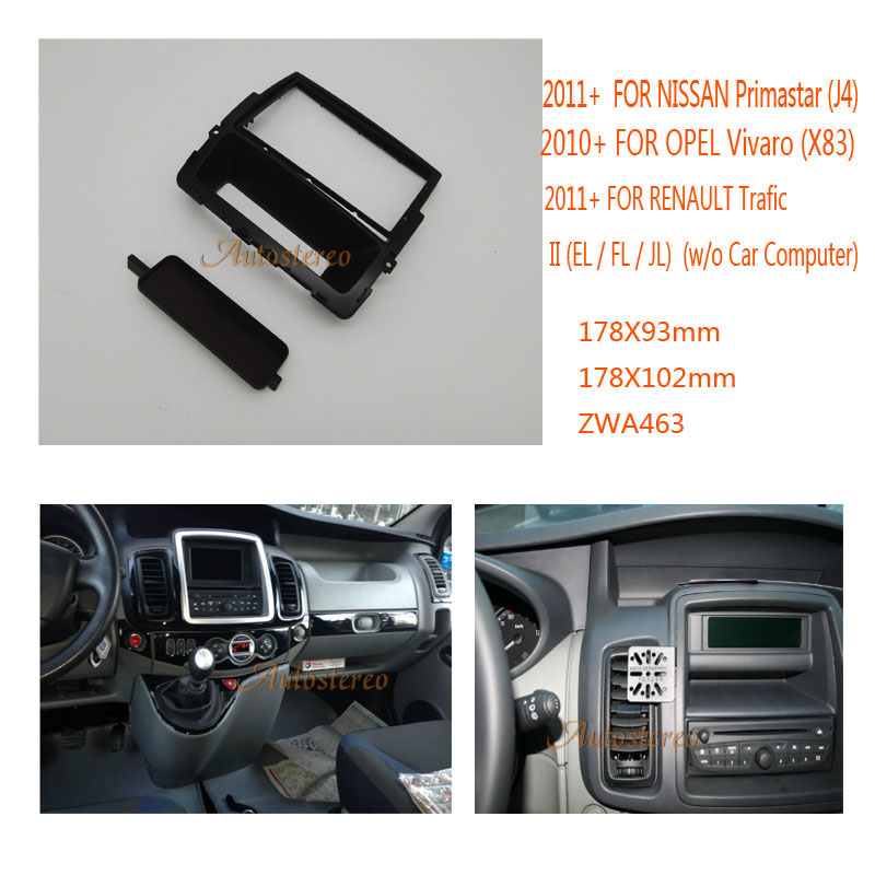 Double DIN Fascia for NISSAN Primastar, for OPEL Vivaro,for RENAULT Trafic II Car Stereo Radio Fascia Plate Panel Frame Kit