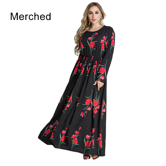 Merched Rose Floral Print Vintage Maxi Dress Autumn Long Sleeve Pleated Long  Dress Vestido Elegant A-line Dress 5XL6XL Plus Size 70c4e1d9035f