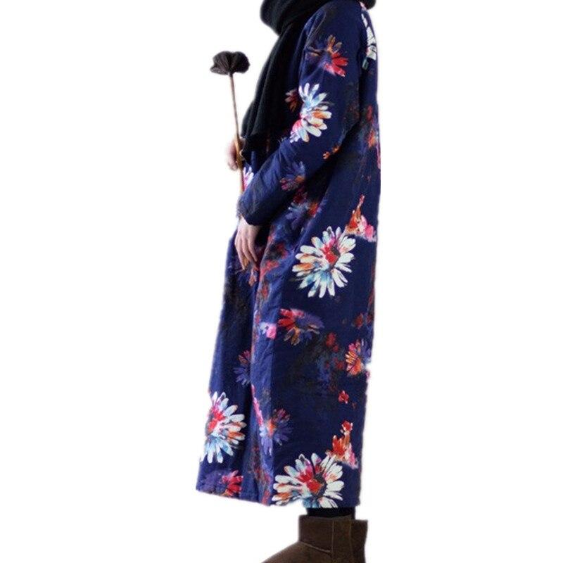 Robe Size Di Floreale Blue green Caldo manicotto Casual Abiti Margherita Vestito Sciolto Dell'annata red Size Lungo Size Inverno Spesso Più China Trapuntato Donne Il Stampa Lino Cotone Formato RfdpwqRS