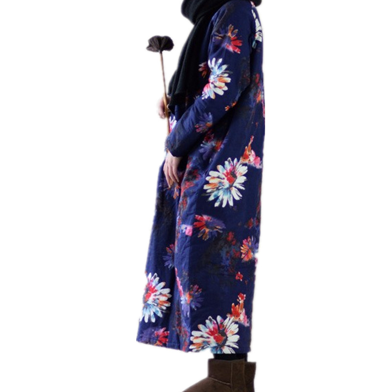 cd7ef4ba01 Winter women warm Thicker Dress Plus Size Long sleeve Vintage Floral Print  daisy Loose Linen Cotton Dresses Casual Quilted Robe-in Dresses from Women s  ...