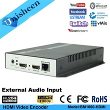 Unisheen H.264 IPTV Encoder HDMI in out Video to IP Youtube Facebook RTMP Live Streaming Vmixe Wirecast OBS Xsplit