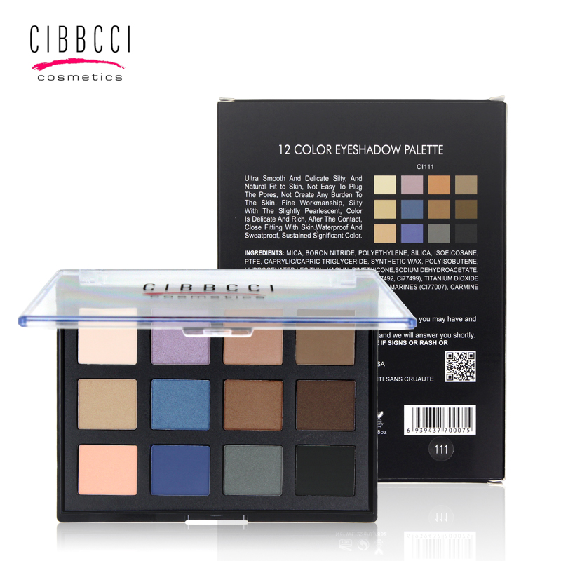 12 Color de sombra de ojos Profesional paleta de maquillaje de Sombra de Ojos ma