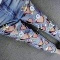 Женщины сладкий сердце выдалбливают бисером джинсовые брюки мыть разорвал карандаш джинсы D1029