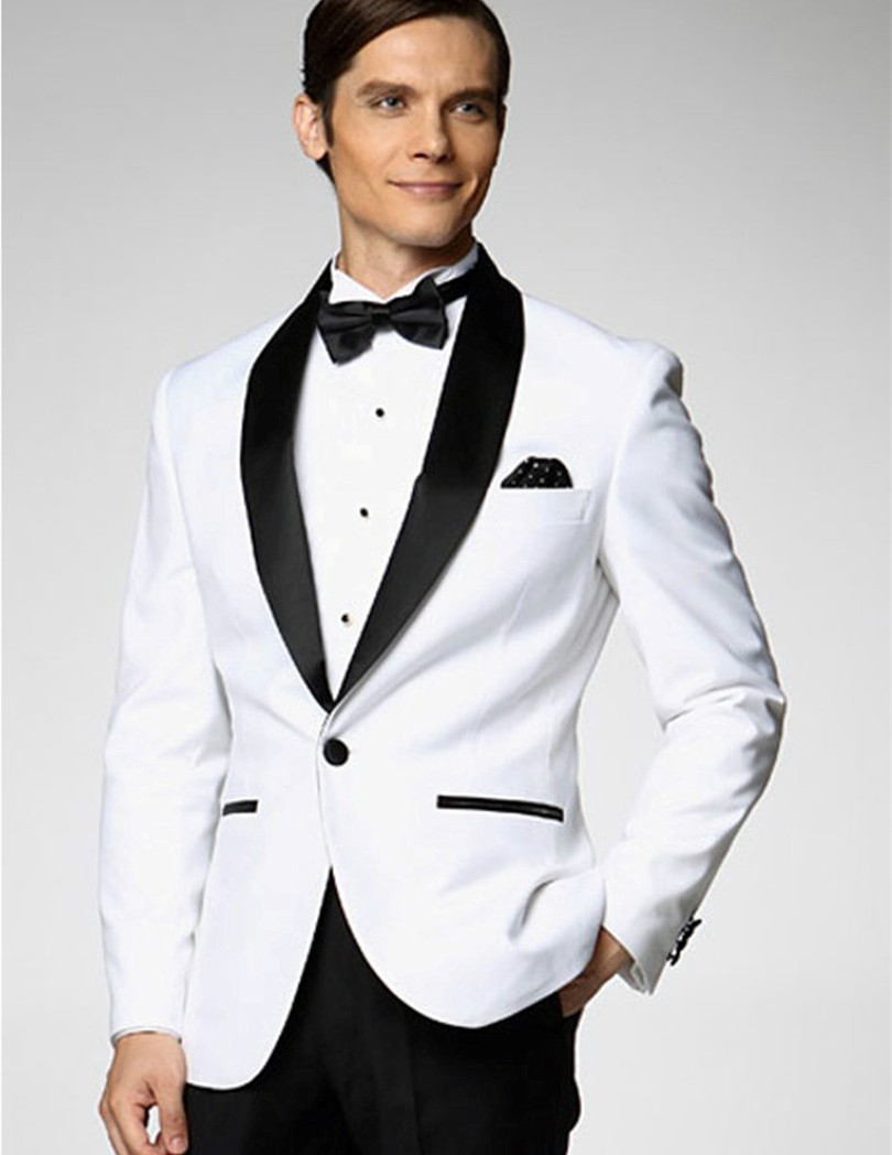wedding tuxedos slim fit groom wear shawl collar two piece suits prom 2019 popular