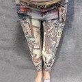 Mujeres Lentejuelas Bronceadores Pantalones Europa Carta Lentejuelas Elástico Delgado Damas Pantalones Vaqueros