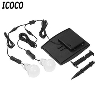 ICOCO נייד שמש מופעל 10 נוריות נורות זוגית חירום אור חיצוני אור גן בית מנורה לטיולים קמפינג דייג מכירה