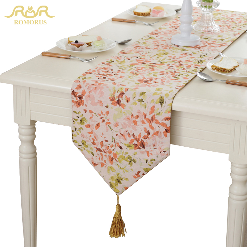 Romorus 3 Seasons Tassel Table Runner Beautiful Leaves Table Linens Home Decor Jacquard Coffee Dining