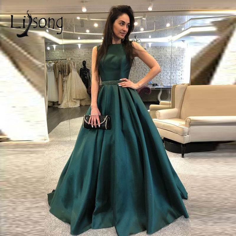 Simple Dark Green Long Evening Dresses 2019 Sparkle Beaded