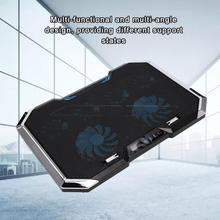 Nieuwe Nuoxi Q8 Laptop Cooler Zes Fan Led Screen Aanpassing Base Twee Usb poort Laptop Cooling Pad Notebook Stand Voor laptop