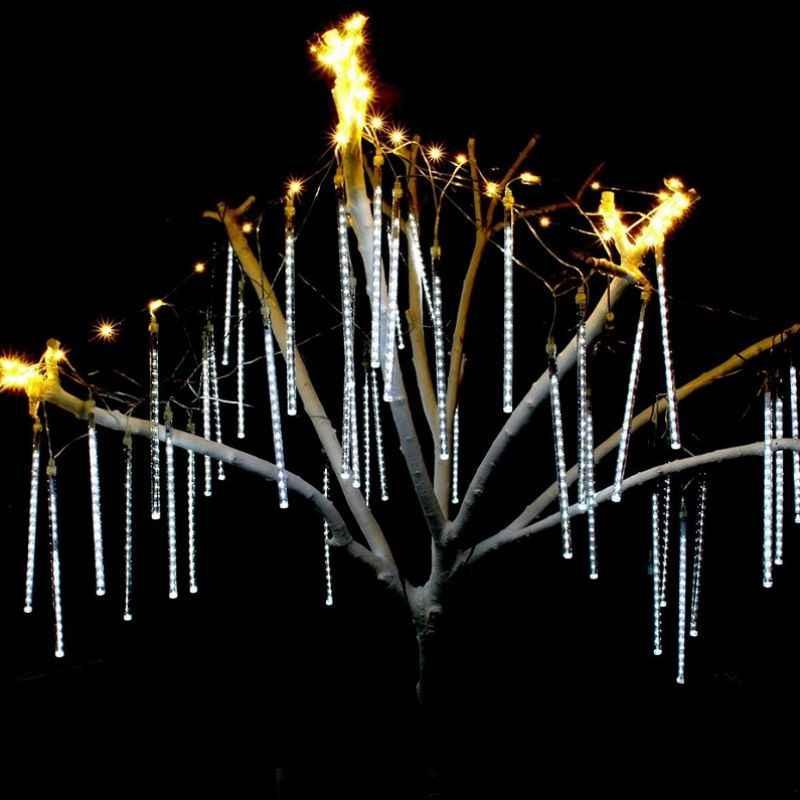 Водонепроницаемый метеоритный дождь 30 см 50 см 8 трубок 100-240 В светодиодный свет сосулька снег капля открытый свет ЕС адаптер питания