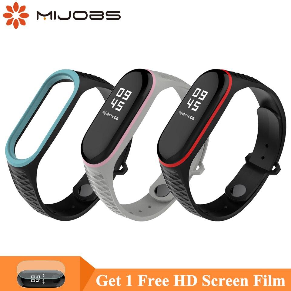 Mijobs Mi Band 4 Strap Aurora Silicone Sport Strap For Xiaomi Mi Band 4 3 Bracelet Correa Miband 3 Wristband Pulseir Wrist Strap