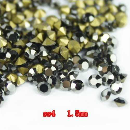 Point Back Rhinestone SS4 14400Pieces 100Gross  Jet Black  Color Chaton Free Shipping степлер мебельный gross 41001