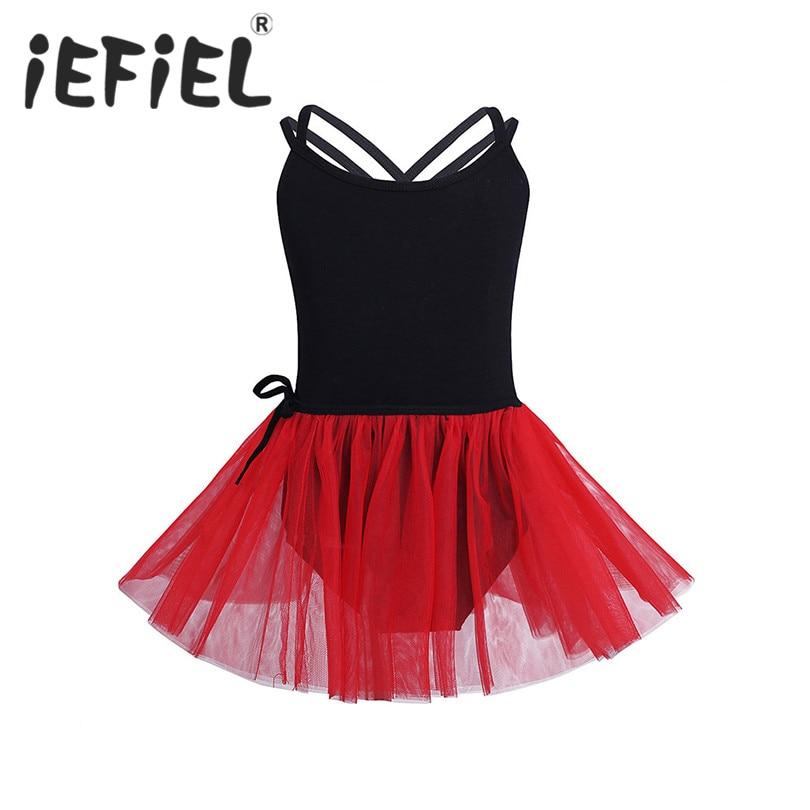 iEFiEL Kids Girls Dancewear Children Princess Ballerina Fairy Party Costume Gymnastic Ballet Dress Leotard with Mesh Tied Skirt